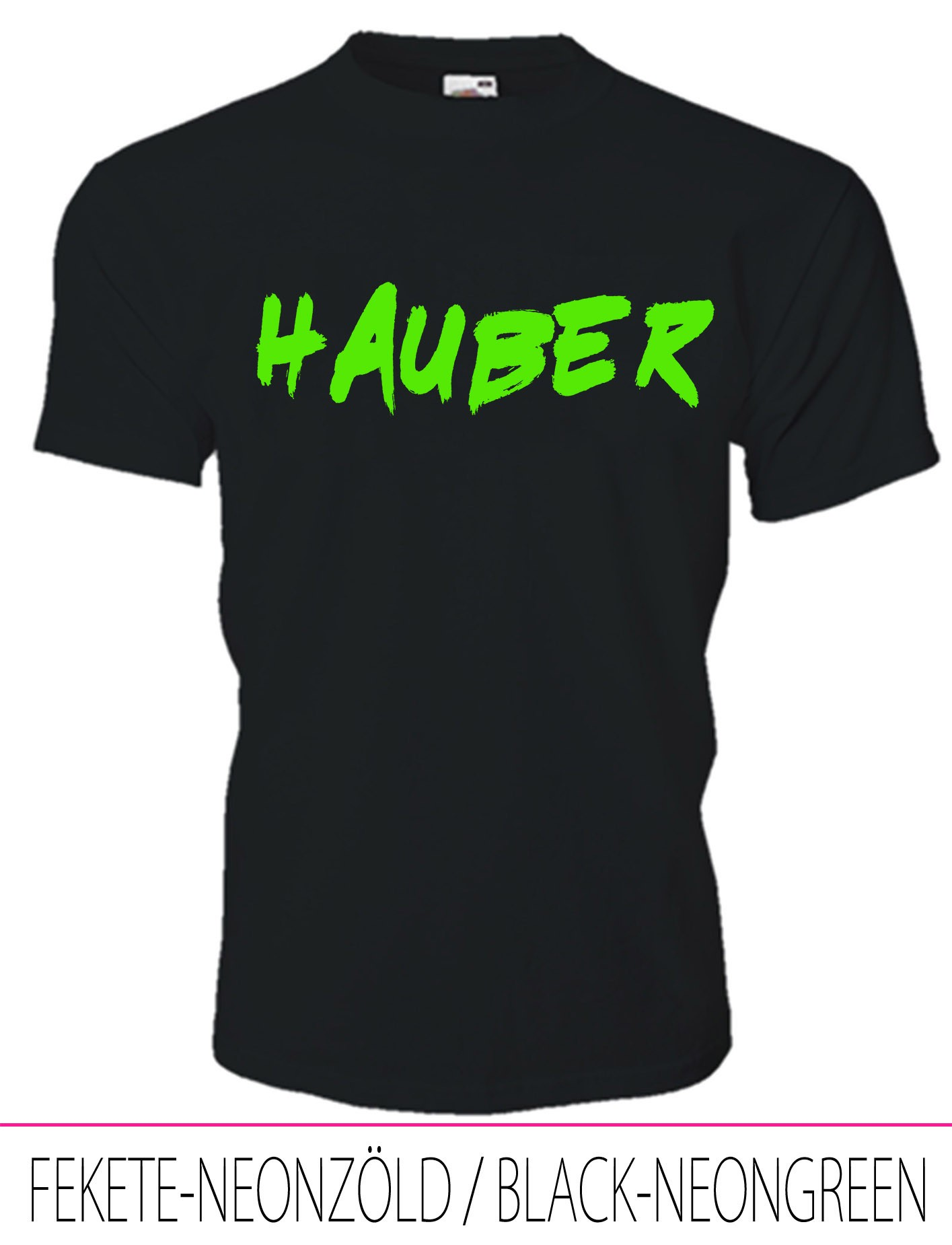 KIDS CREW NECK T-SHIRT HAUBER BLACK-NEONGREEN