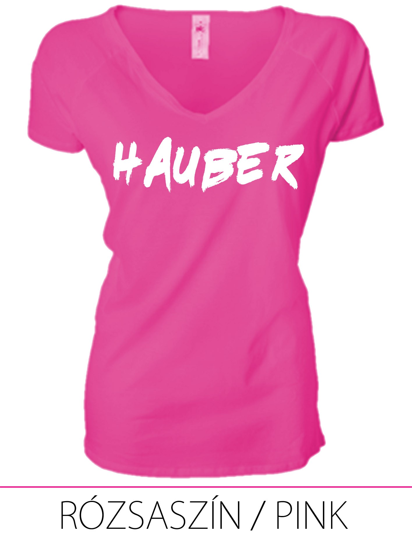 LADIES PREMIUM V NECK T-SHIRT HAUBER PINK